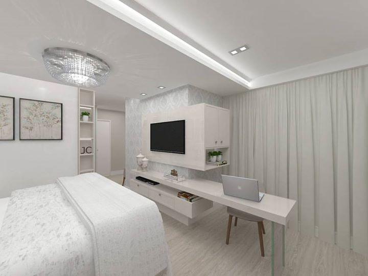 Proposta Para Um Home Office Juntamente Com O Apoio Da TV. Ambiente Clean E  Contu2026 Part 95